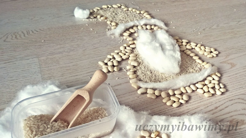 Mikołaj - kreatywnie - ryż i fasola